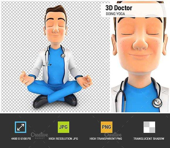 3D Doctor Doing Yoga