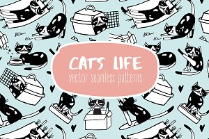 Cat​'​s life seamless pattern