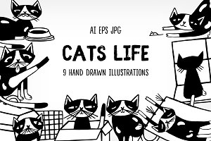 Set of cat​'​s illustrations