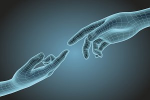 futuristic wireframe hands