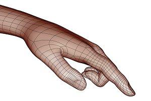 Wireframe human hand