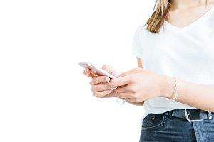 Crop shot of girl using phone