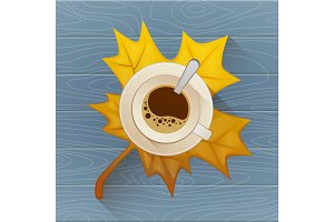 Coffee cup on the autumn fall leaves and wooden blue old table background. Flat vector illustration