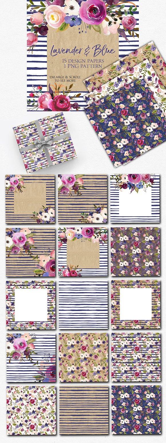 Lavender Blue Floral Design Paper