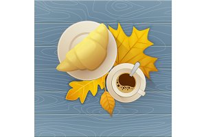 Tasty buttery croissant and cup of hot coffee on old wooden table with autumn leaves. Vector flat illustration