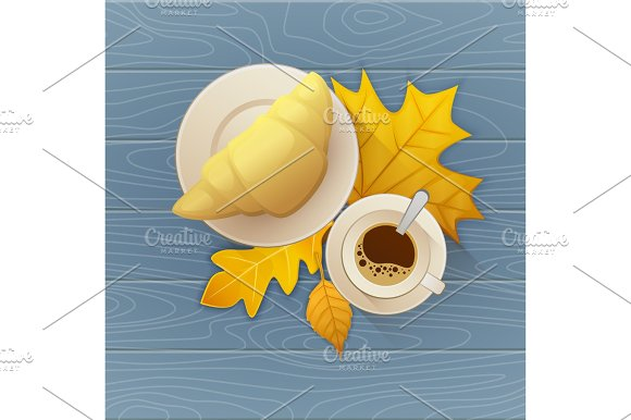 Tasty Buttery Croissant And Cup Of Hot Coffee On Old Wooden Table With Autumn Leaves Vector Flat Illustration