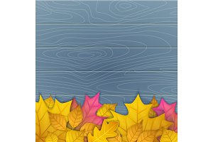 vector illustration of autumn leaves on wooden blue background. top view