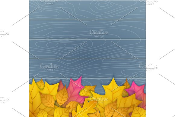 Vector Illustration Of Autumn Leaves On Wooden Blue Background Top View