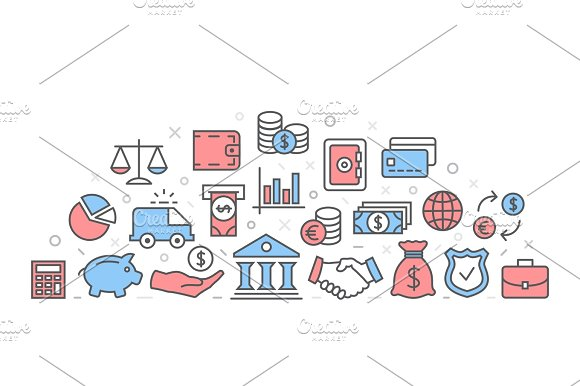 Bank Illustration With Icons