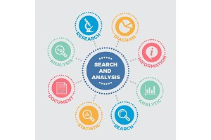 Search and analysis Illustration with icons