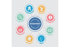 Investment Illustration with icons