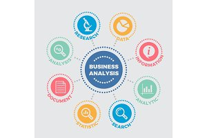 Business analysis Illustration with icons