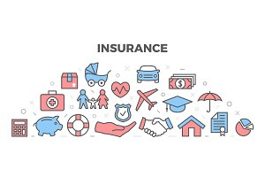 Insurance Illustration with icons