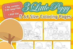 3 Little Piggy Digital Coloring Page