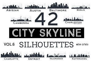 42 City Skyline Silhouettes Set 6