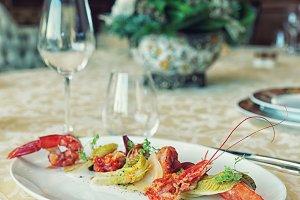 Red shrimp appetizer