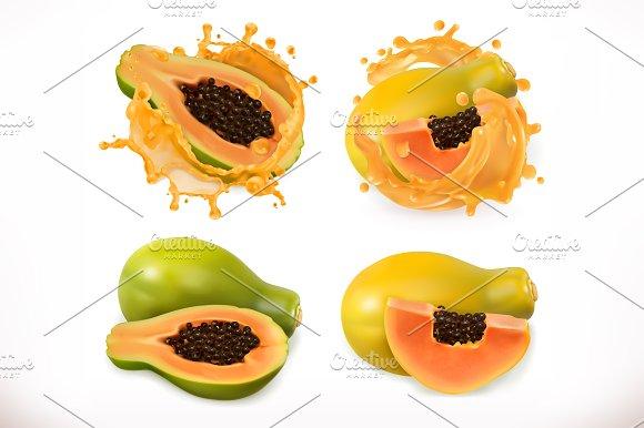 Papaya Juice Vector Icon Set