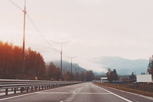 Highway in the morning and hills