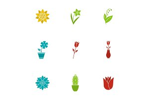 Flowers glyph color icon set