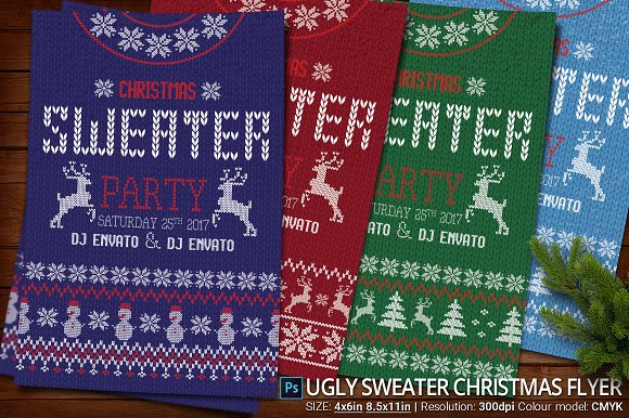 Ugly Sweater Christmas Party Flyer