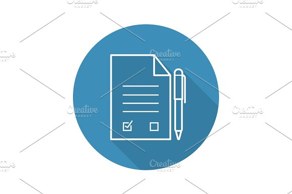 Signed Contract With Pen Flat Linear Long Shadow Icon