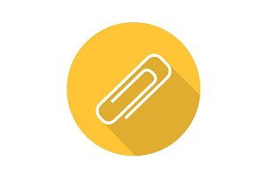 Paper clip flat design long shadow glyph icon