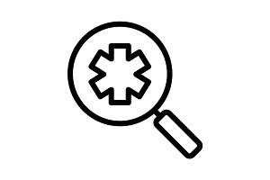 Ambulance search linear icon