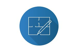 Floor plan flat linear long shadow icon