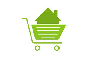 Shopping cart with house glyph color icon