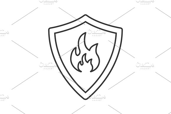 Firefighters Badge Linear Icon