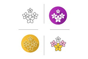 Spa salon plumeria flowers icon