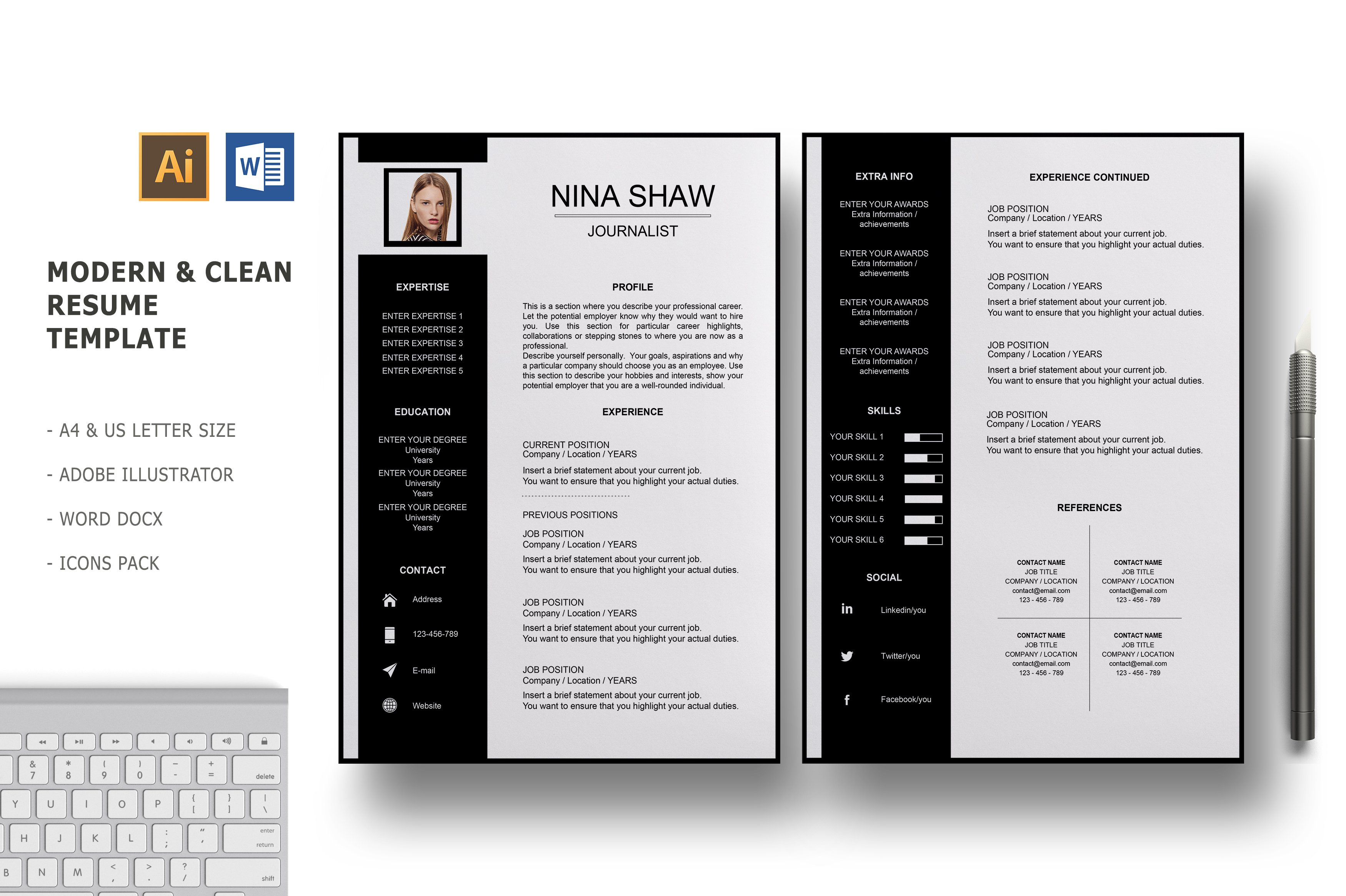 Draco 2 Pages Resume Template Creative Illustrator Templates