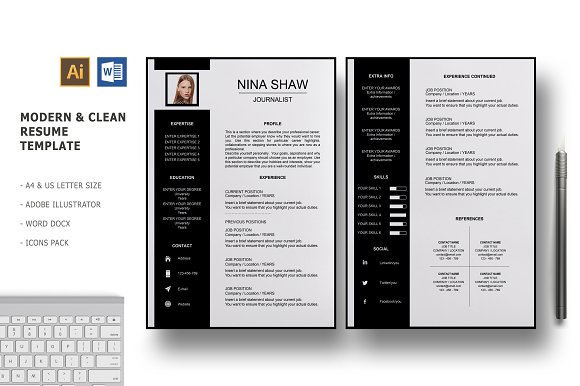 draco 2 pages resume template resume templates creative market