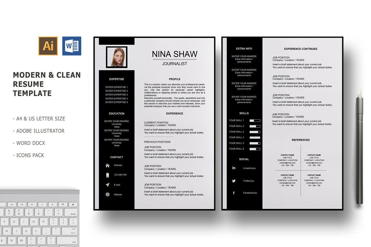 Draco 2 Pages Resume Template ~ Resume Templates ~ Creative Market