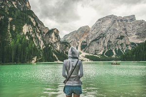 Traveller looking at Lago di Braies