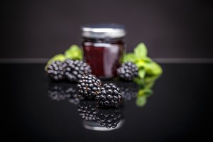 Blackberry jam in a jar.