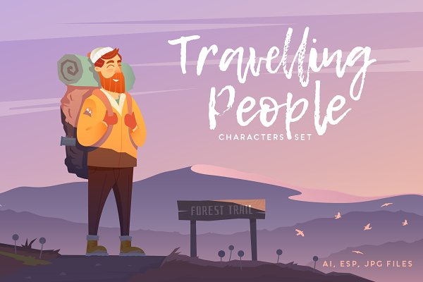 Travelling People. Set of character…