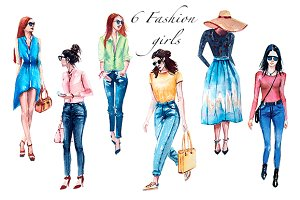 Watercolor Fashion Girl set