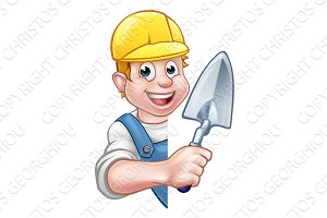 Builder Bricklayer Holding Trowel Tool