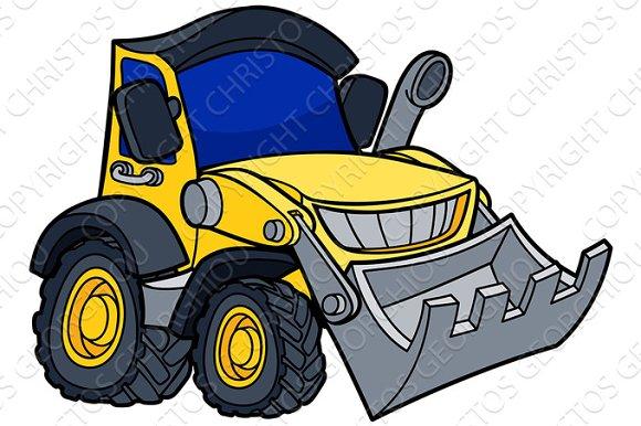 Cartoon Bulldozer Digger