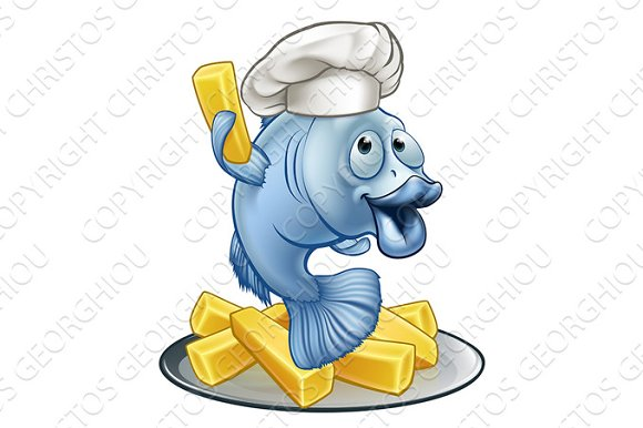 Fish And Chips Chef Cartoon Character