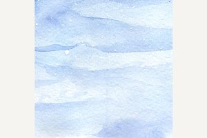Watercolor blue snow water texture