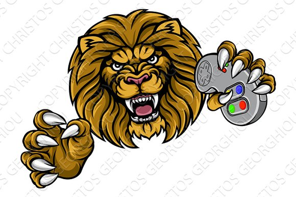 Lion Gamer Player Mascot