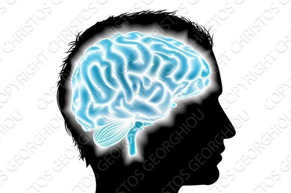 Man Glowing Brain Concept