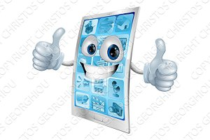 Mobile phone mascot double thumbs up