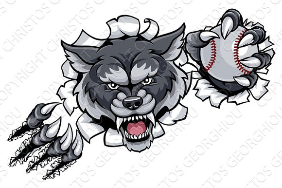 Wolf Baseball Mascot Breaking Background