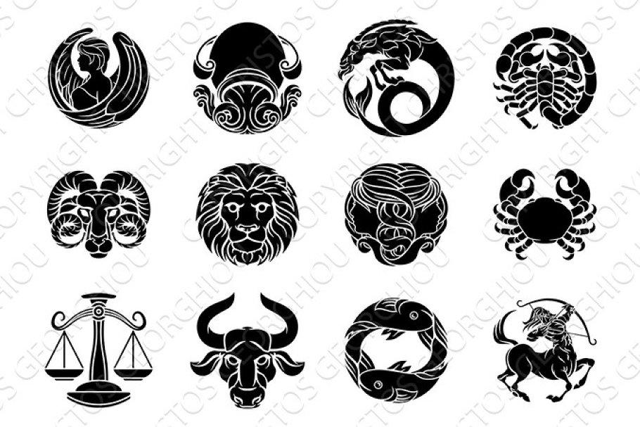 Zodiac Horoscope Astrology Star Signs Symbols Set Illustrations