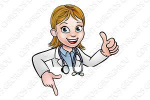 Doctor Cartoon Character Thumbs Up Pointing Down
