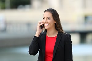 Executive talking on a mobile phone