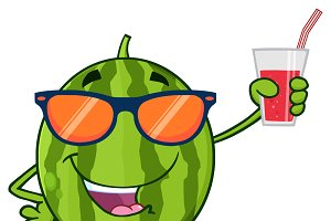 Watermelon Character With Sunglasses